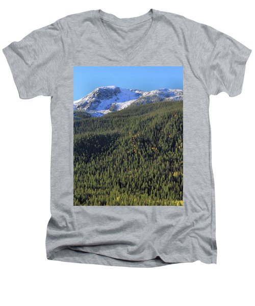 Men's V-Neck T-Shirt featuring the photograph Rocky Mountain Evergreen Landscape by Dan Sproul