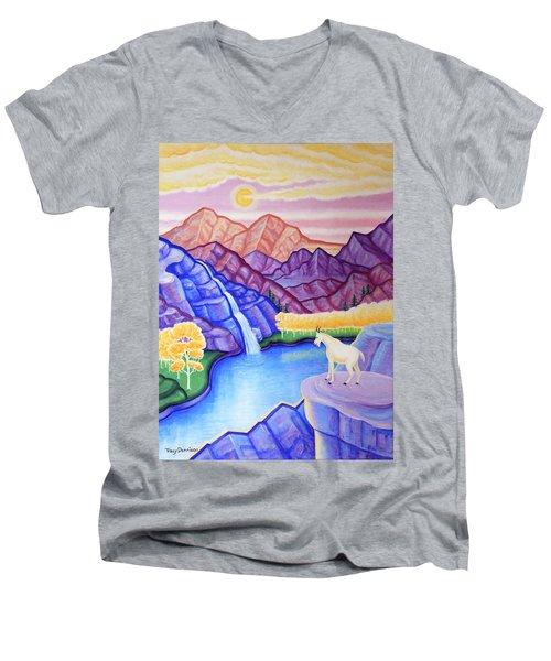 Rocky Mountain High Men's V-Neck T-Shirt by Tracy Dennison