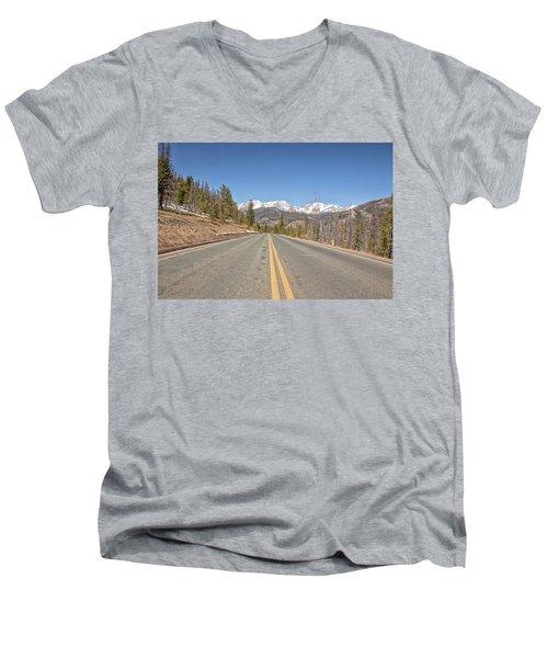 Men's V-Neck T-Shirt featuring the photograph Rocky Mountain Road Heading Towards Estes Park, Co by Peter Ciro