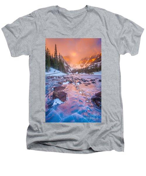 Rocky Mountain Sunrise Men's V-Neck T-Shirt by Steven Reed