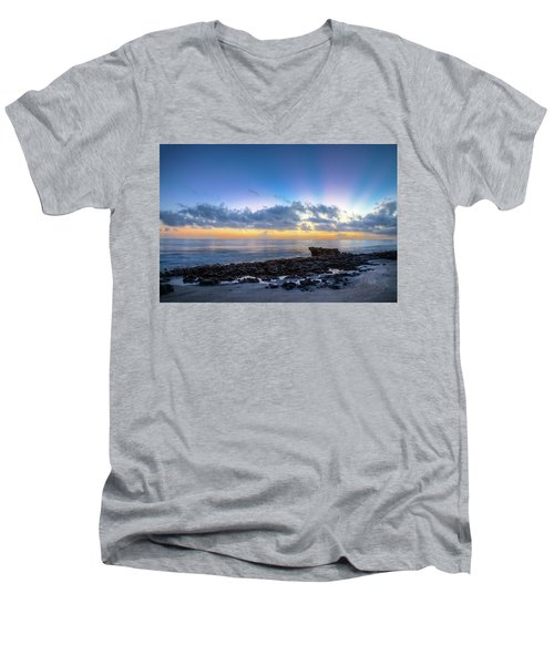 Men's V-Neck T-Shirt featuring the photograph Rocky Reef At Low Tide by Debra and Dave Vanderlaan