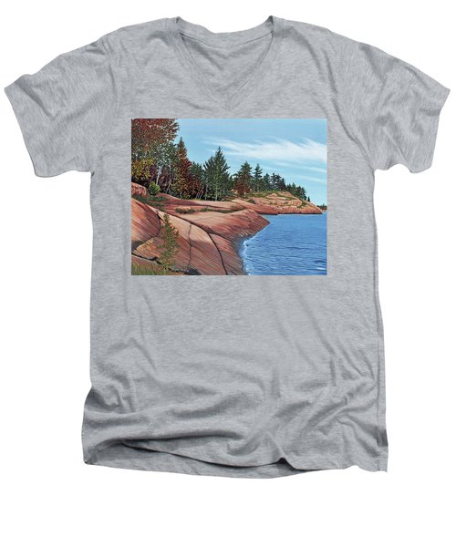 Men's V-Neck T-Shirt featuring the painting Rocky River Shore by Kenneth M Kirsch