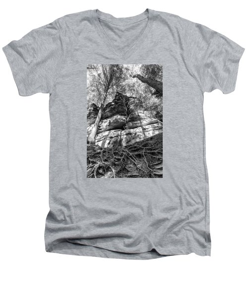 Men's V-Neck T-Shirt featuring the photograph Rocky Roots by Alan Raasch
