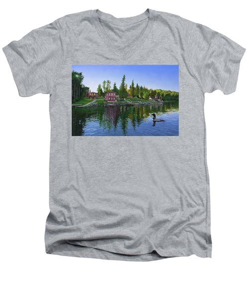 Rocky Shore Lodge Men's V-Neck T-Shirt