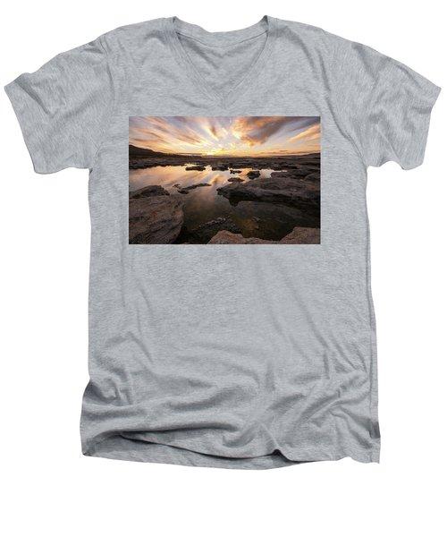 Rocky Shores Of Utah Lake Men's V-Neck T-Shirt