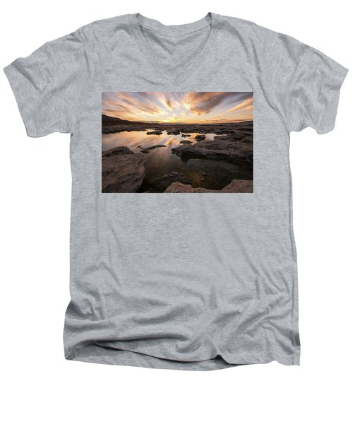 Men's V-Neck T-Shirt featuring the photograph Rocky Shores Of Utah Lake by Wesley Aston
