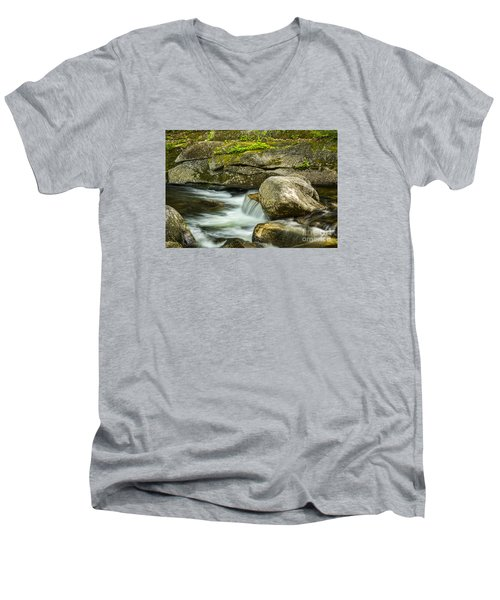 Men's V-Neck T-Shirt featuring the photograph Rocky Stream by Alana Ranney