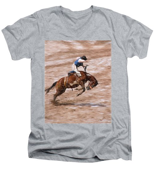 Rodeo Bronc Rider Men's V-Neck T-Shirt by John Freidenberg