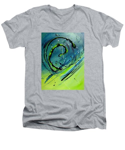Men's V-Neck T-Shirt featuring the painting Rolling Down The River by Mary Kay Holladay