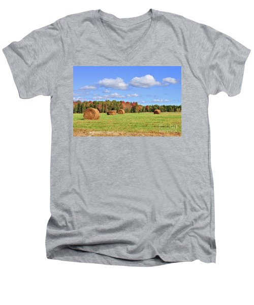 Rolls Of Hay On A Beautiful Day Men's V-Neck T-Shirt