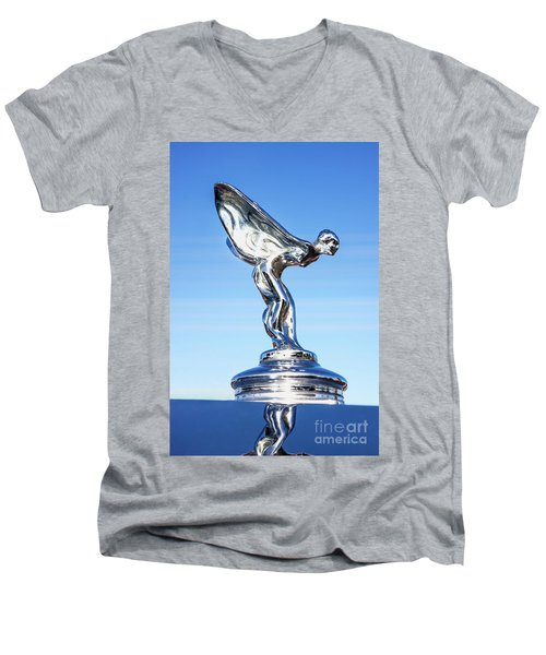 Men's V-Neck T-Shirt featuring the photograph Rolls Royce Hood Ornament by Aloha Art