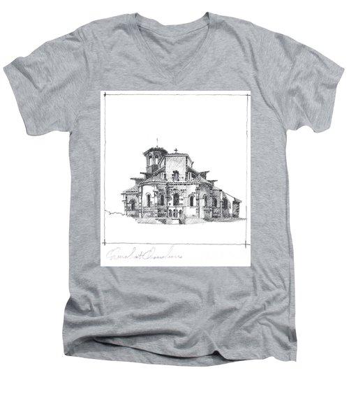 Roman Church At Chamalieres Men's V-Neck T-Shirt