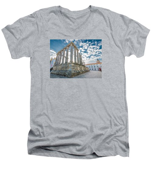 Roman Temple At Evora Men's V-Neck T-Shirt
