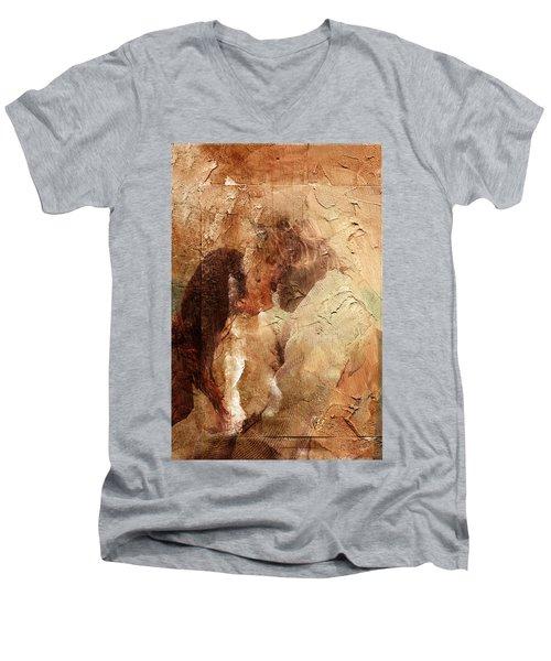 Romantic Kiss Men's V-Neck T-Shirt by Andrea Barbieri