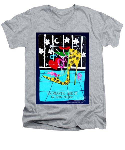 Men's V-Neck T-Shirt featuring the painting Romantic Shoe by Don Pedro De Gracia