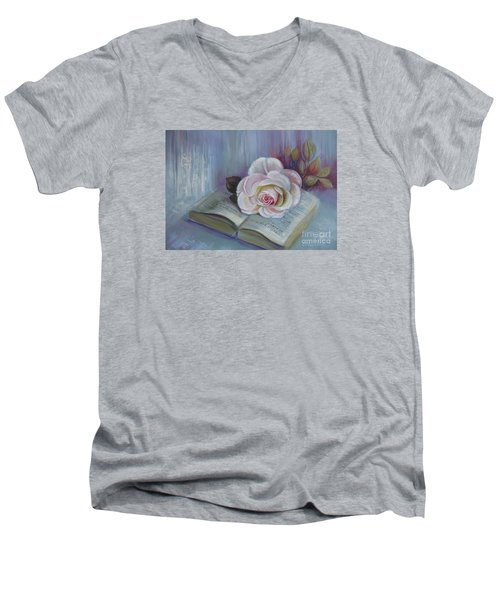Men's V-Neck T-Shirt featuring the painting Romantic Story by Elena Oleniuc
