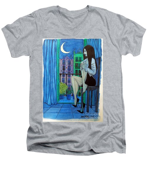 Men's V-Neck T-Shirt featuring the painting Romantic Woman At Balcony by Don Pedro De Gracia