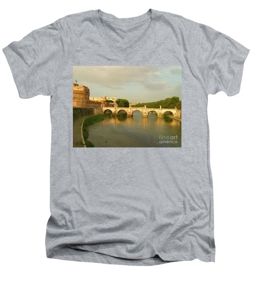 Men's V-Neck T-Shirt featuring the painting Rome The Eternal City And Tiber River by Rosario Piazza