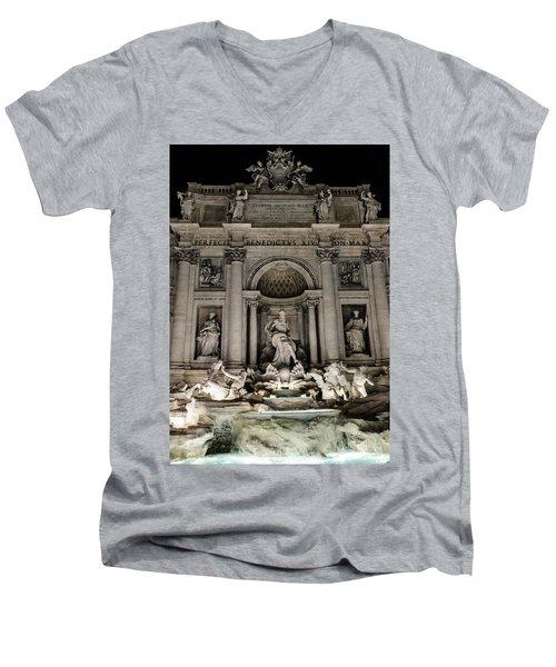 Rome - The Trevi Fountain At Night 3 Men's V-Neck T-Shirt