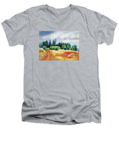 Men's V-Neck T-Shirt featuring the painting Romp On The Hill by Kathy Braud