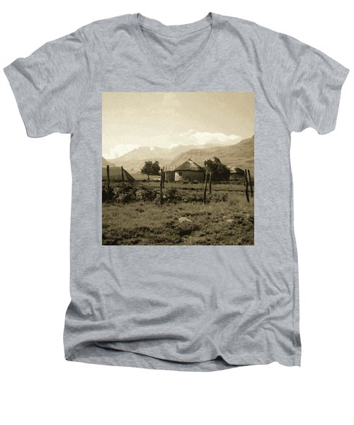 Rondavel In The Drakensburg Men's V-Neck T-Shirt