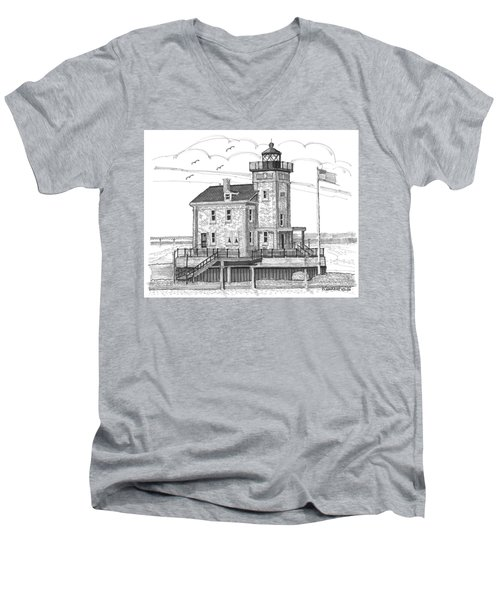 Rondout Lighthouse Men's V-Neck T-Shirt