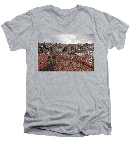 Roofs Over Santiago Men's V-Neck T-Shirt by Angel Jesus De la Fuente