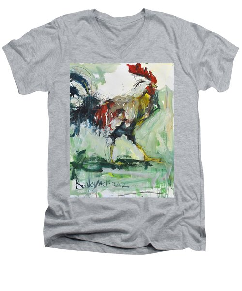 Rooster Painting Men's V-Neck T-Shirt