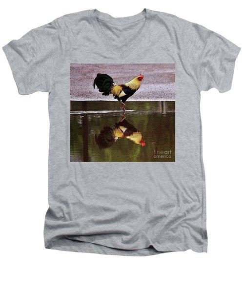 Rooster's Reflection Men's V-Neck T-Shirt
