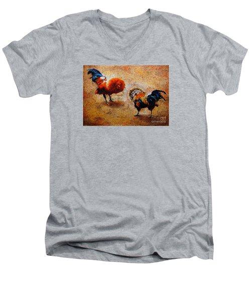Roosters  Scene Men's V-Neck T-Shirt