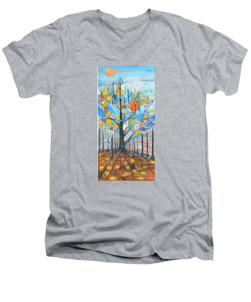 Men's V-Neck T-Shirt featuring the painting Roots by Evelina Popilian