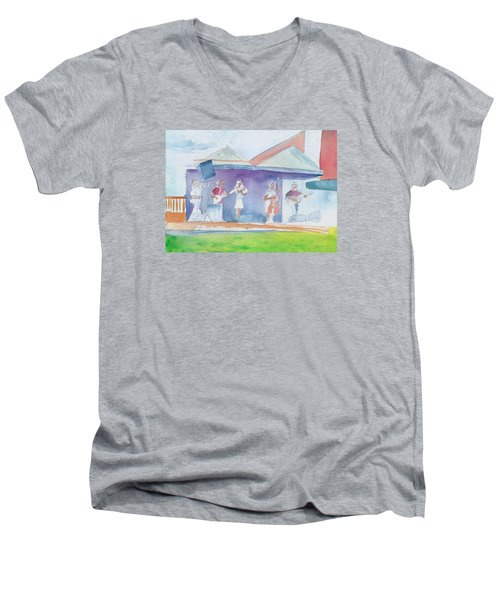 Roots Retreat Bluegrass Men's V-Neck T-Shirt by David Sockrider
