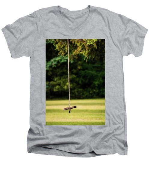 Men's V-Neck T-Shirt featuring the photograph Rope Swing  by Shelby Young