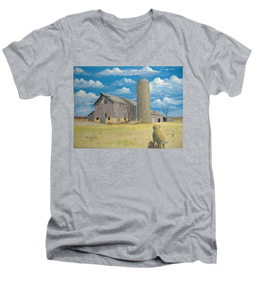 Men's V-Neck T-Shirt featuring the painting Rorabeck Barn by Norm Starks