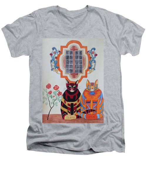 Rosa And Pedro Of The Rose Window Of Mission San Jose Men's V-Neck T-Shirt