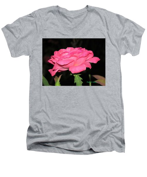Men's V-Neck T-Shirt featuring the photograph Rose 1 by Phyllis Beiser