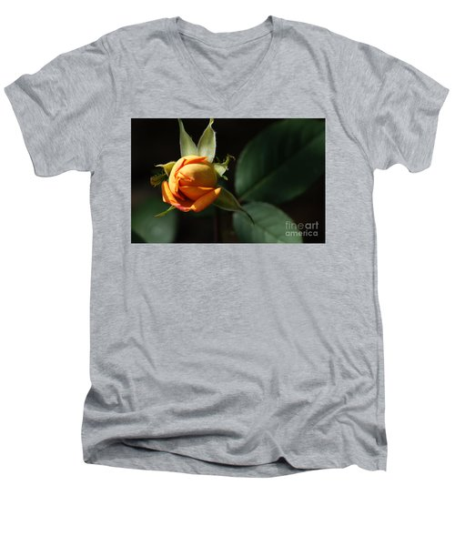 Men's V-Neck T-Shirt featuring the painting Rose Bud by Debra Crank