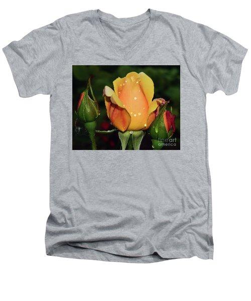 Rose Bud Men's V-Neck T-Shirt by Elvira Ladocki