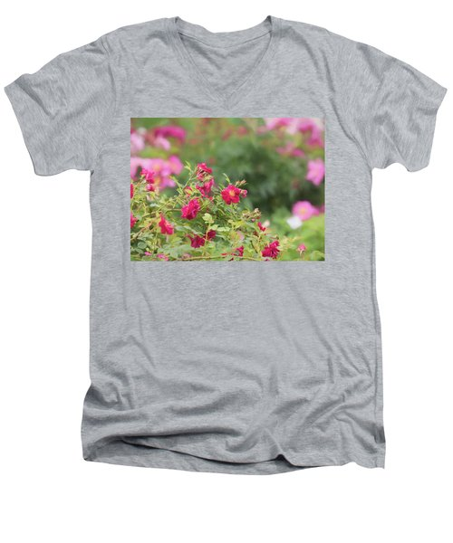 Men's V-Neck T-Shirt featuring the photograph Rose Garden Promise by Kim Hojnacki