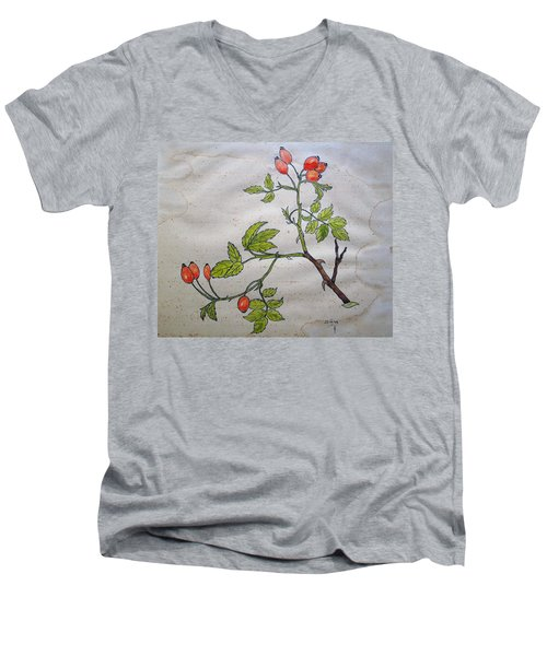 Rose Hip Men's V-Neck T-Shirt by Thomas M Pikolin