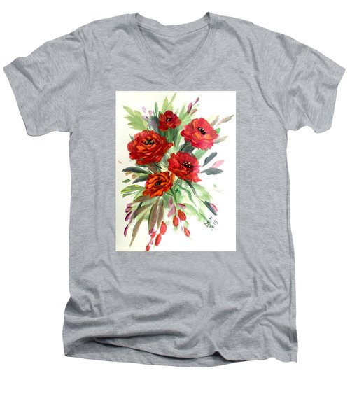 Men's V-Neck T-Shirt featuring the painting Rose Love by Dorothy Maier