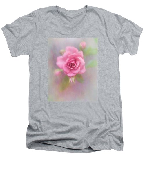Rose Of Pink Men's V-Neck T-Shirt by David and Carol Kelly
