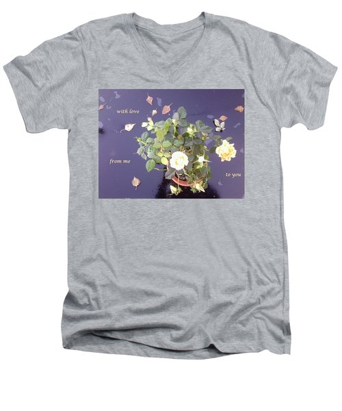 Rose On Glass Table With Loving Wishes Men's V-Neck T-Shirt