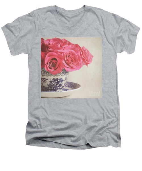 Men's V-Neck T-Shirt featuring the photograph Rose Tea by Lyn Randle