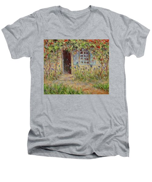 Rose Trees At The Front Of The House Men's V-Neck T-Shirt