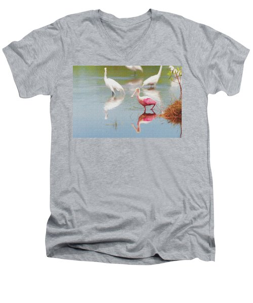 Roseate Spoonbill Eating In A Lagoon With Other Egrets Men's V-Neck T-Shirt