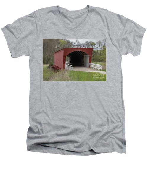 Roseman Covered Bridge - Madison County - Iowa Men's V-Neck T-Shirt