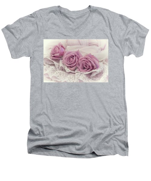 Roses And Beaded Lace Men's V-Neck T-Shirt by Sandra Foster