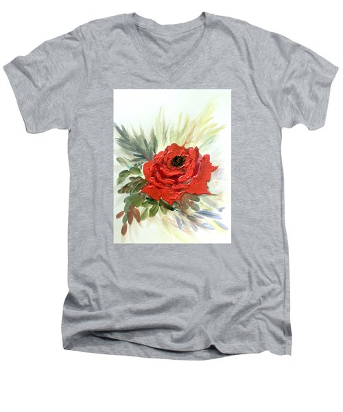 Men's V-Neck T-Shirt featuring the painting Roses Are Red by Dorothy Maier