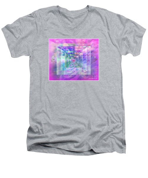 Men's V-Neck T-Shirt featuring the digital art Roses Are Red Violets Are Blue These Roses Are Just For You by Sherri Of Palm Springs